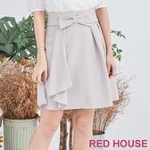 【RED HOUSE 蕾赫斯】蝴蝶結波浪裙(灰色)
