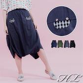 .HL超大尺碼.【19050004】可愛焦點造型口袋寬版伸縮長褲 4色