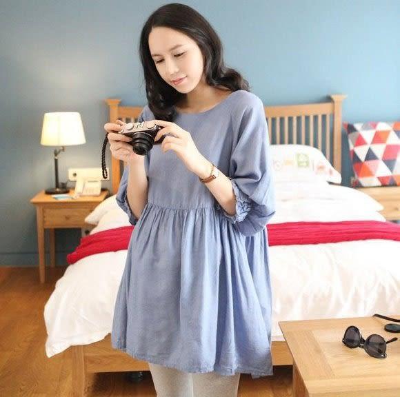 漂亮小媽咪 公主袖上衣 【D1005XD】 寬鬆 孕婦上衣 孕婦裝