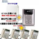 【SD-616A門禁套餐】SD-PK303 東訊TECOM超級數位電話總機◆SD616AX1台+SD-7706EX4台+門口機X1台