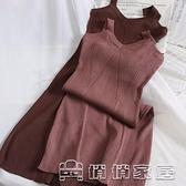 吊帶裙 秋冬連身裙女毛線吊帶裙顯瘦V領針織外穿中長款氣質打底裙子 17【免運快出】