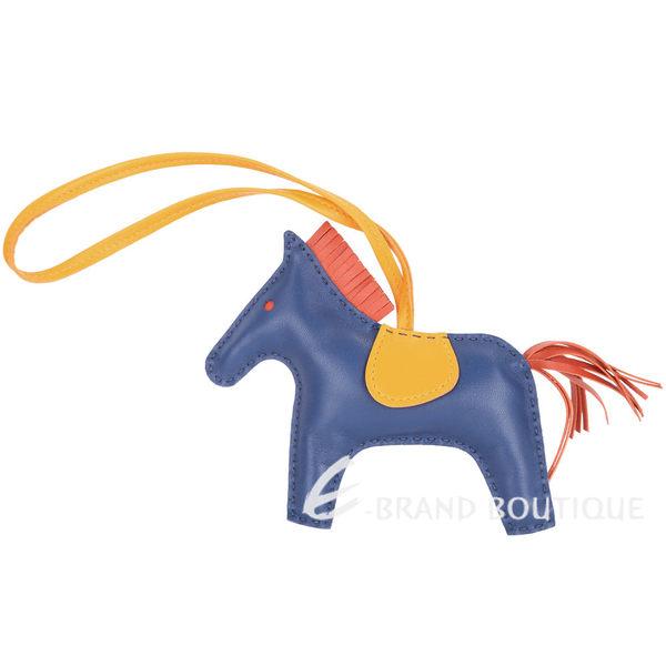 HERMES Rodeo MM 馬兒拼接小羊皮鑰匙圈/吊飾(藍x黃) 1640023-D8