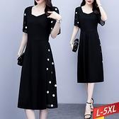 方領波點拼接雪紡洋裝 L~5XL【175402W】【現+預】-流行前線-
