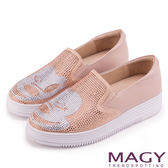 MAGY 輕甜休閒時尚 趣味卡通鑽飾牛皮厚底休閒鞋-粉紅