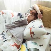 馬與狐狸的對話 DPM4雙人鋪棉床包與6X7兩用被四件組 四季磨毛布 北歐風 台灣製 棉床本舖