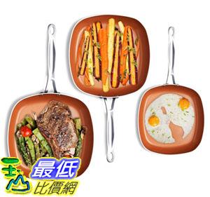 [8美國直購] 陶瓷不沾鍋 Gotham Steel 1682 Nonstick Copper Square Shallow Pan 3 Piece Cookware Set Chef Daniel Green