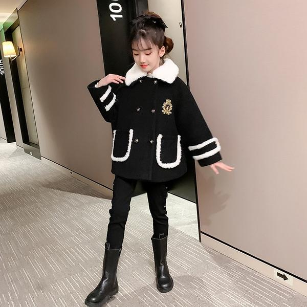 兒童棉服加絨夾克外套 女孩洋氣時尚棉衣女童外套 呢子羽絨外套秋冬棉襖 韓版外套中大童上衣