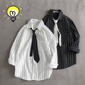 夏季潮牌洋氣七分袖襯衫男生韓版潮流很仙的上衣寬鬆條紋短袖襯衣 快速出貨