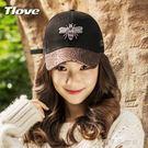 棒球帽女士戶外休閒蜜蜂刺繡遮陽帽時尚亮片帽子鴨舌帽 千千女鞋