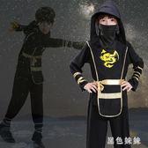中大尺碼萬圣節兒童服裝男童幻影忍者表演服裝日本武士黑衣人演出服套裝男 js10934『黑色妹妹』