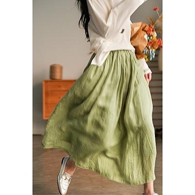苧麻多層設計半身裙 鬆緊腰褶皺純色A字裙/3色-夢想家-0220