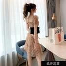 2021裙子夏天新款小香風收腰顯瘦網紗波點中長款氣質御姐風裙【全館免運】