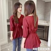 雪紡上衣 襯衫女夏裝新款韓版氣質優雅V領短袖收腰顯瘦系帶雪紡上衣女 美好生活