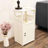 床頭櫃 現代簡約床頭櫃雕花多功能儲物收納櫃小戶型落地組裝白色床邊櫃子 非凡小鋪 igo