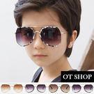 OT SHOP太陽眼鏡‧中大兒童款太陽眼鏡‧時尚迷彩半框‧黑迷彩/黃迷彩/白框/亮黑‧現貨‧K11