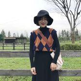 秋新款韓版復古英倫菱格V領無袖針織背心學院風馬甲毛衣女冬 韓國時尚週