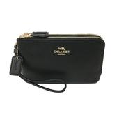 【COACH】牛皮L型雙層拉鍊手拿零錢包(皮革-黑)