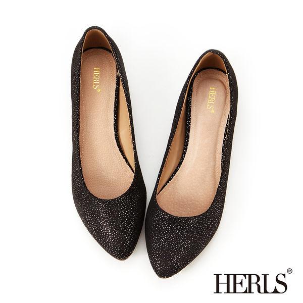跟鞋-HERLS 內真皮 絨布星彩內增高楔型鞋-黑色
