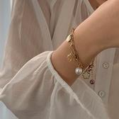 手鏈 鈦鋼閨蜜手鏈女小眾設計氣質個性珍珠花朵手飾品潮 艾維朵