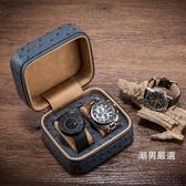 手錶收藏盒夭桃(飾品)駝鳥紋皮革手錶包便攜拉鍊式皮制手錶收納盒旅行錶袋