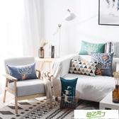 北歐現代簡約長方形布藝棉麻沙發抱枕靠墊套辦公室腰枕腰靠枕含芯 【降價兩天】