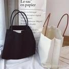 手提包 韓國簡約純色帆布袋女文藝單肩帆布包環保袋手提帆布袋大購物袋