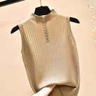 春秋新款無袖毛衣半高領針織吊帶背心女時尚氣質修身顯瘦打底上衣
