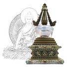 12公分 純銅菩提塔 釋迦牟尼佛 塔底可裝藏 銅色琉璃
