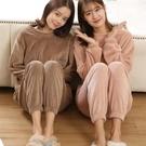 秋冬季新款珊瑚絨睡衣女加厚加絨法蘭絨可愛仙女暖暖褲家居服套裝 小山好物