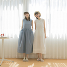 Queen Shop【01085571】圓領剪接摺皺造型無袖洋裝 四色售*現+預*