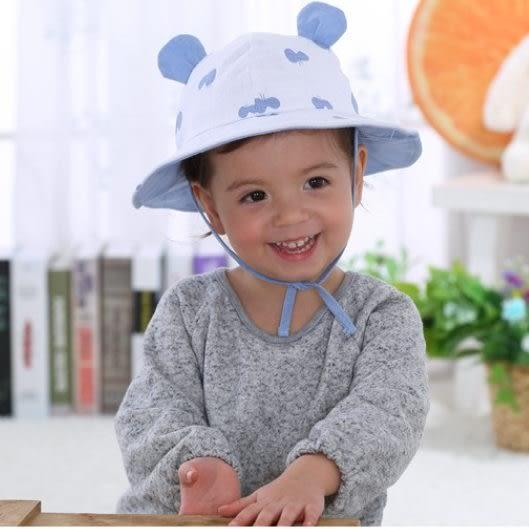 預購-兒童棉布盆帽 蝴蝶印花漁夫帽