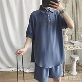 POLO衫  韓版潮流休閑運動套裝男短袖polo衫短褲寬鬆兩件套『優尚良品』