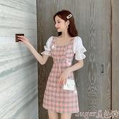雪紡洋裝 2021夏季新款法式氣質格子短袖女裙子收腰顯瘦雪紡拼接A字連身裙 suger