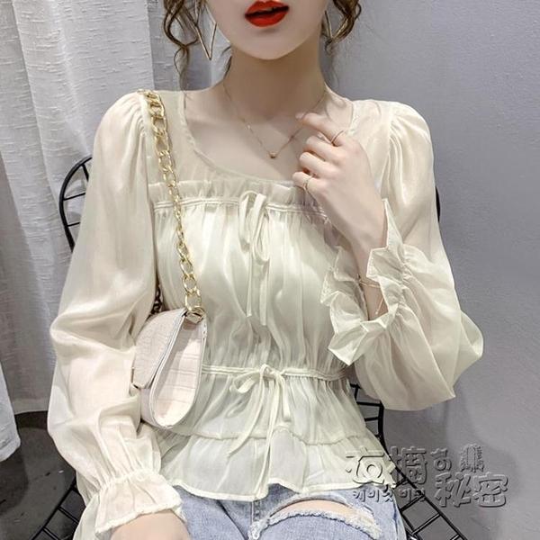 雪紡上衣 早秋新款女裝設計感喇叭袖抽繩短款上衣薄款泡泡長袖雪紡襯衫 雙十二全館免運