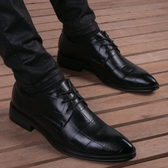 尖頭皮鞋男真皮秋季格紋黑色內增高鞋韓版商務休閒正裝系帶男鞋潮