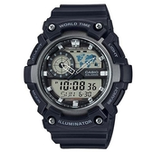 【CASIO】科技電子世界時間概念造型雙顯錶-黑X銀(AEQ-200W-1A)