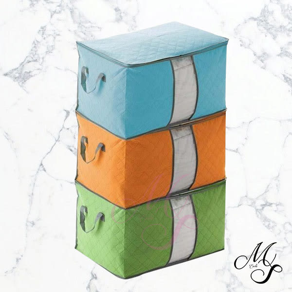 【Miss Sugar】竹炭透視衣服收納箱 棉被 衣物 整理袋 收納袋 儲存袋 換季幫手 65L