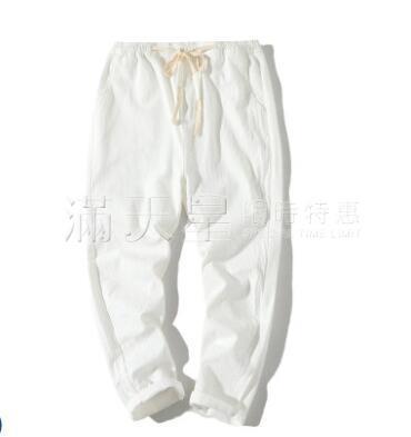 九分棉麻褲男士夏季薄款韓版潮流寬鬆休閒褲小腳9分哈倫褲男褲子 滿天星