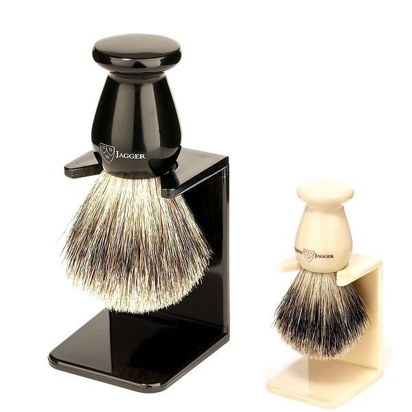 [2美國直購] Edwin Jagger Best Badger 刮鬍泡沫刷 附支架 鬍鬚刷 黑/白