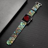 蘋果apple watch手錶錶帶皮質iwatch民族圖騰腕帶【步行者戶外生活館】