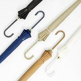 16骨素色長柄傘創意森系定制韓國直柄雨傘