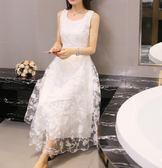 蕾絲洋裝韓版女連身裙雪紡修身A字長裙 優樂居