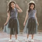 網紅夏裝女童裝時髦超洋氣韓版套裝裙兒童夏季小女孩大童公主裙子 維多原創