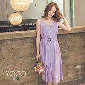 東京著衣【YOCO】經典優雅繡花布無袖腰帶洋裝-S.M.L(181391)