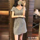 港味洋裝韓版chic時尚女裝氣質修身顯瘦收腰V領百搭格子短裙女 可可鞋櫃