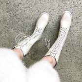 網紅秋冬加絨米色中長筒靴韓版百搭中跟高筒靴瘦女靴子前系帶潮靴 初見居家