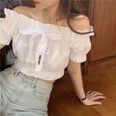 蝴蝶結泡泡袖上衣女復古短款露臍一字領短袖襯衫【聚寶屋】