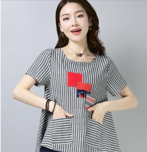 媽媽裝短袖女2020夏季新款棉麻t恤女寬鬆條紋亞麻圓領娃娃衫上衣
