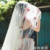 沙灘巾超大長款紗巾繡花絲巾女花朵圍巾空調披肩夏季旅游海邊防曬 時尚潮流