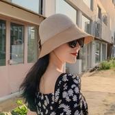 漁夫帽 網紅款黑色漁夫帽女夏季韓版休閒百搭日系防曬遮陽太陽帽子男盆帽
